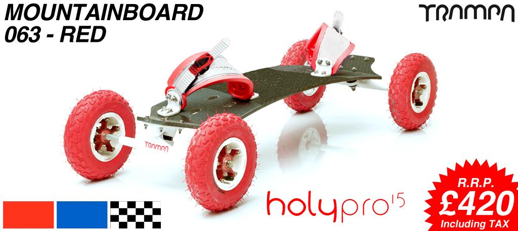 15º HOLYPRO TRAMPA deck on 10mm TITANIUM Trucks SUPERSTAR wheels & RATCHET Bindings - 063 RED  MOUNTAINBOARD