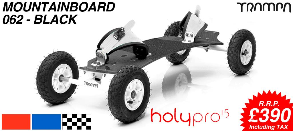 15º HOLYPRO TRAMPA deck on 10mm TITANIUM Trucks HYPA wheels & RATCHET Bindings - 062 BLACK  MOUNTAINBOARD