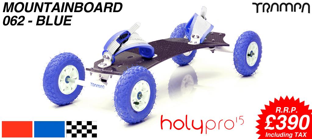 15º HOLYPRO TRAMPA deck on 10mm TITANIUM Trucks HYPA wheels & RATCHET Bindings - 062 BLUE  MOUNTAINBOARD