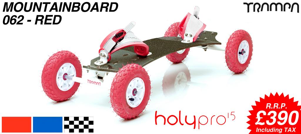 15º HOLYPRO TRAMPA deck on 10mm TITANIUM Trucks HYPA wheels & RATCHET Bindings - 062 RED MOUNTAINBOARD