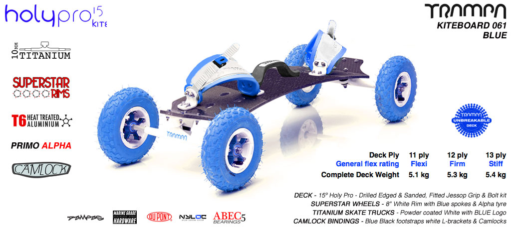 15° HOLYPRO TRAMPA Deck on 9.525mm TITAINIUM Axel Skate Trucks SUPERSTAR Wheels & CAMLOCK Bindings - 061 BLUE KITEBOARD