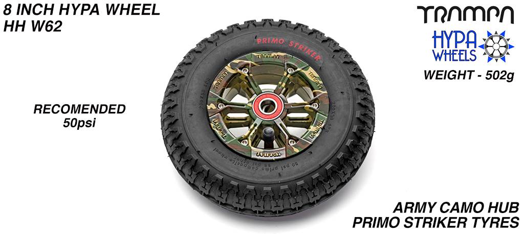 8 Inch Wheel - Army Camo Print Hypa Hub with Black Striker 8 Inch Tyre