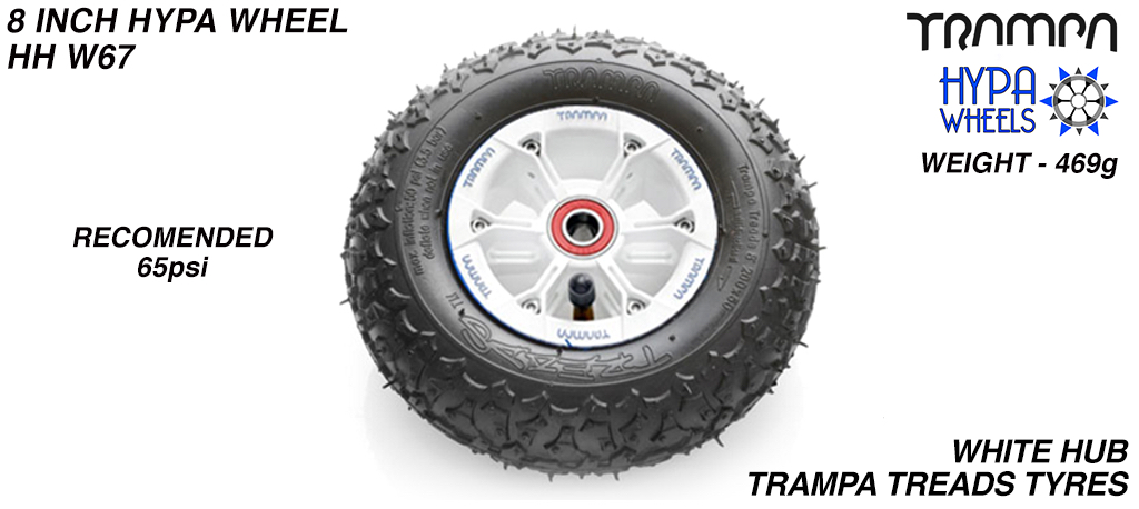 8 Inch Wheel - White with Blue logo Hypa Hub with Trampa Treads 8 Inch Tyre
