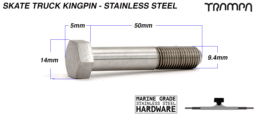 STAINLESS STEEL Skate Truck KINGPIN