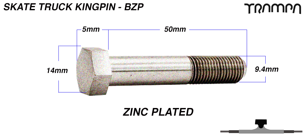 BRIGHT ZINC PLATED Steel Skate Truck Kingpin