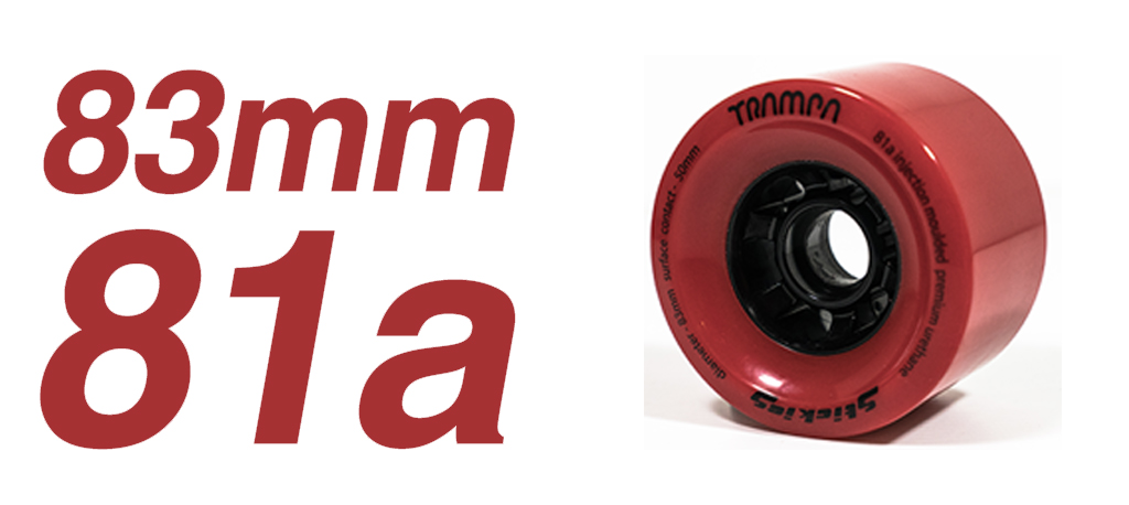 RED - 81a 83mm STICKIES Longboard Wheels