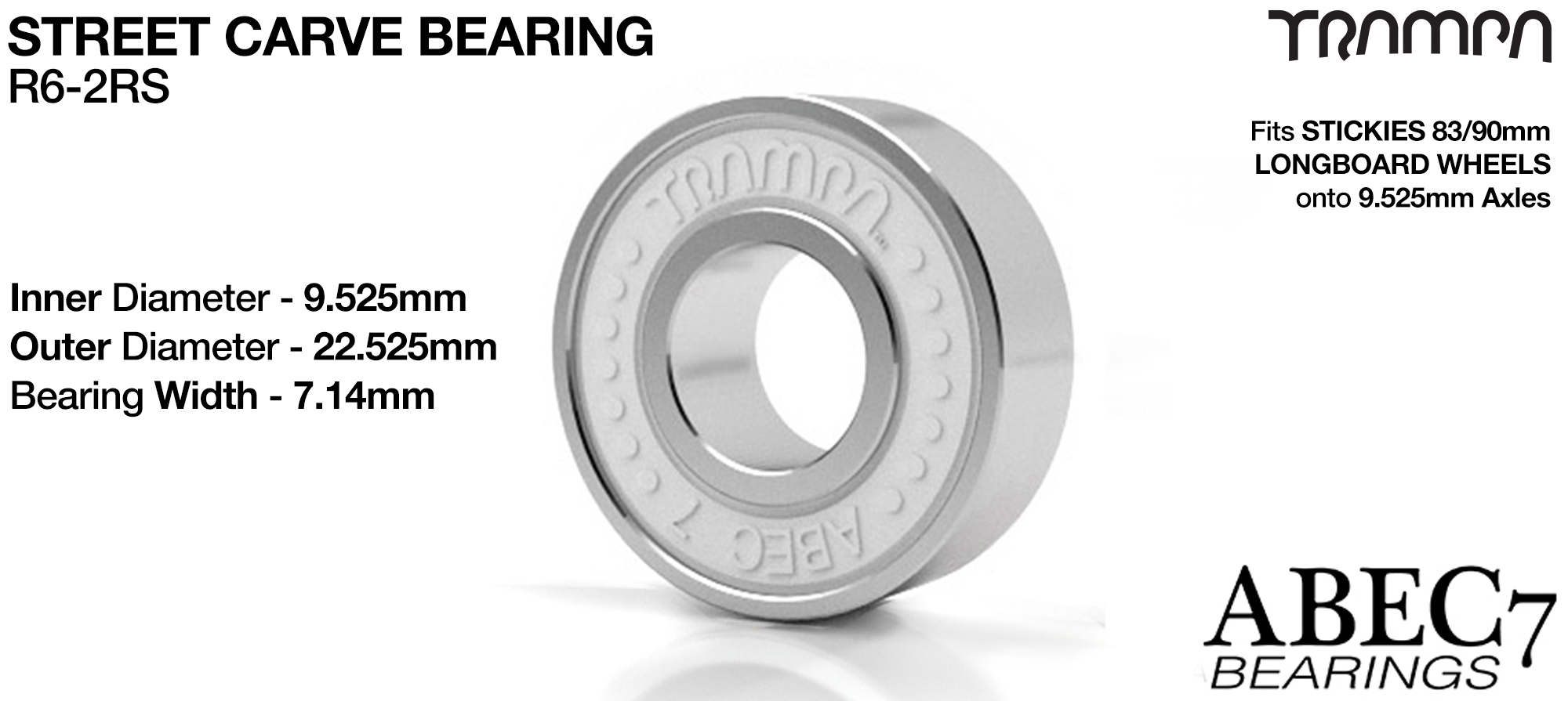 9.525mm Axle TRAMPA StreetCarve Bearings 2 x WHITE (+£5)