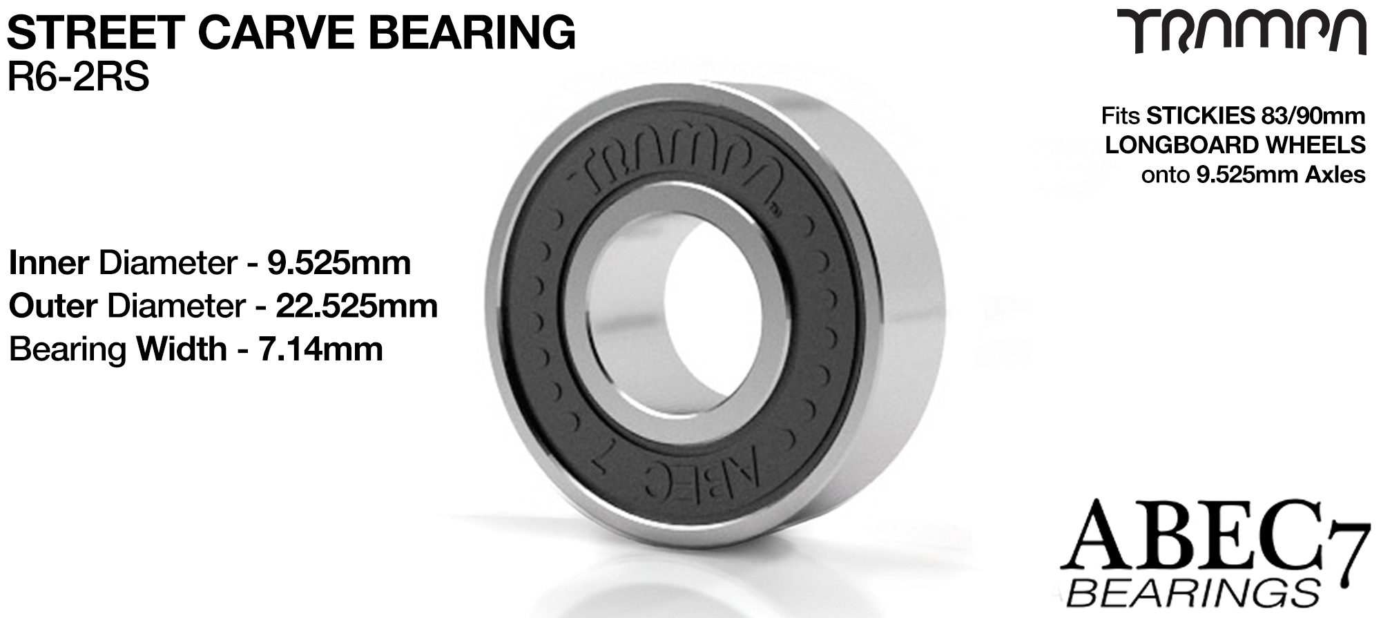 BLACK 9.525 x 22.225mm R6-2RS Bearings