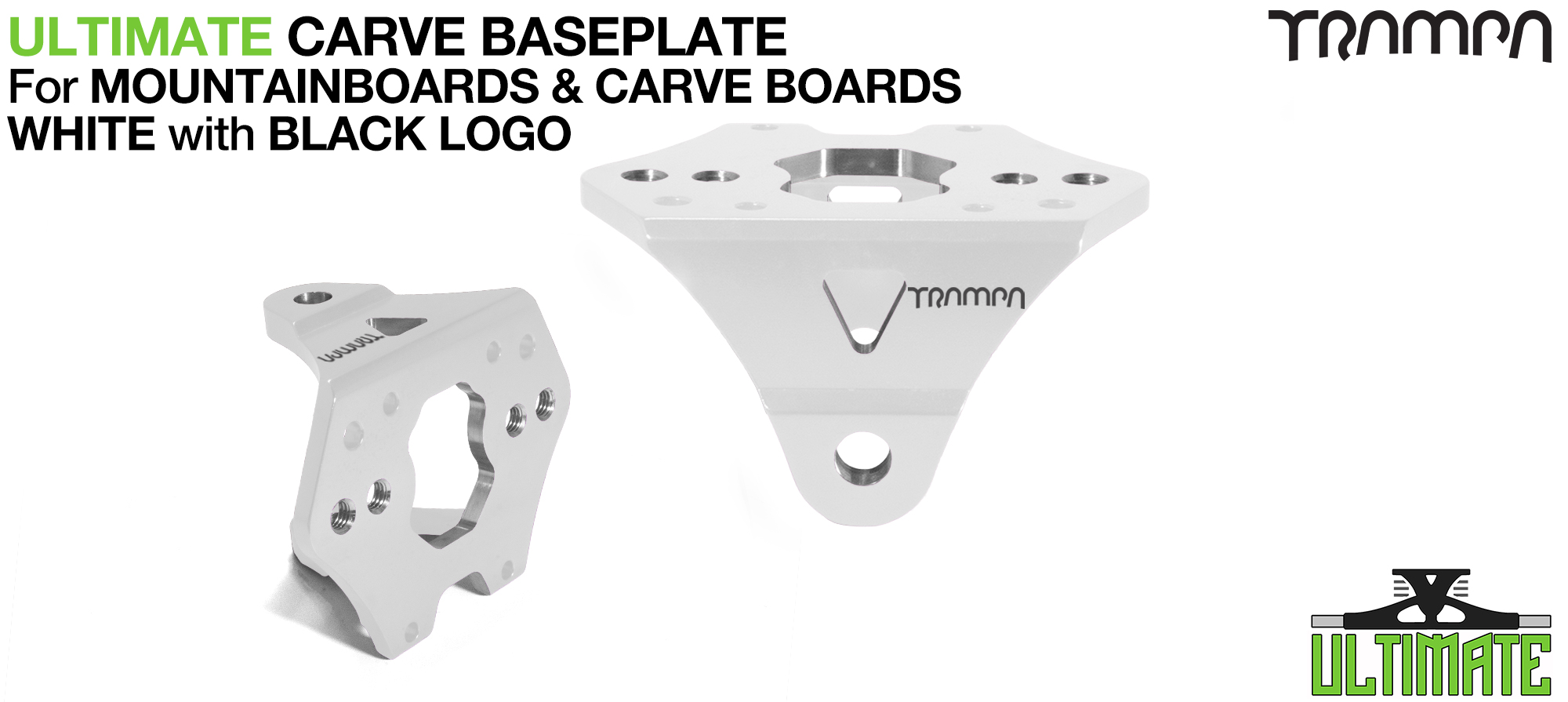 Carveboard ULTIMATE Baseplate WHITE - T6 Aluminum Powder coated & CNC lightened - Black logo