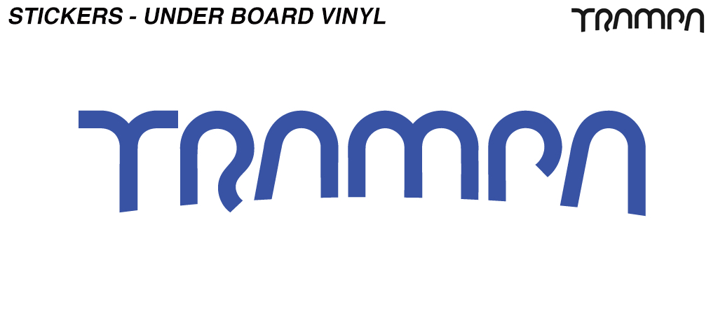 580mm Under Board Hand made TRAMPA Vinyl Sticker - BLUE