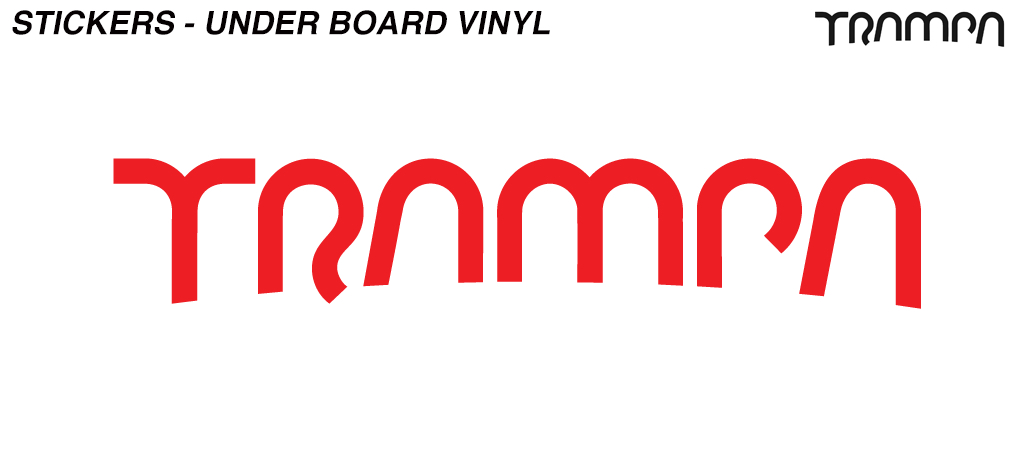 580mm Under Board Hand made TRAMPA Vinyl Sticker - RED