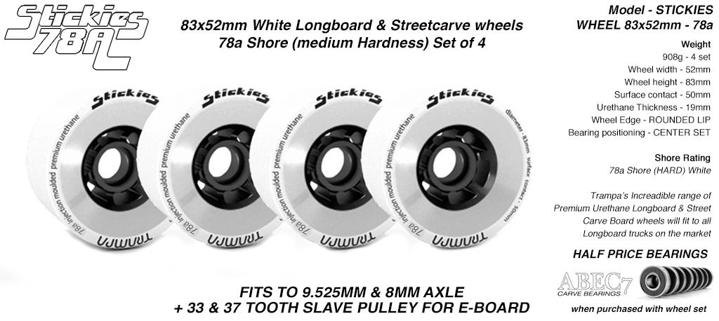STICKIES Longboard & Street Carver Wheels - 83 x 52mm - 78a Regular Urethane WHITE x4