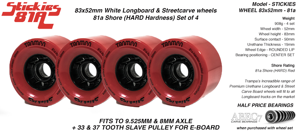 STICKIES Longboard & Street Carver Wheels - 83 x 52mm - 81a Hard Urethane RED x4