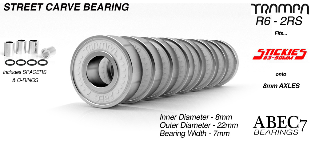 Street Carveboard Bearings fits Stickies Wheels to Mini Spring Trucks R6 2RS ABEC7 9.525mm x 22.225mm x 7.14mm WHITE x 8