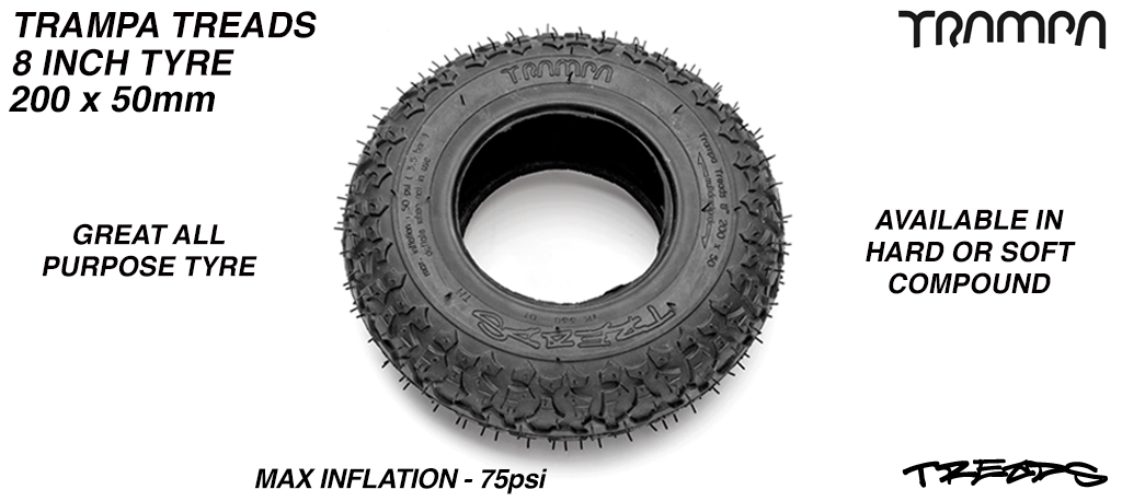 TRAMPA TREADS 8x 2x 3.75 Inch Tyre - Hard or Soft Compound 8 Inch Tyre