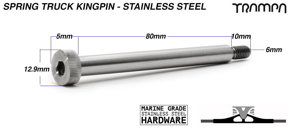 8mm STAINLESS STEEL king pin for Spring trucks