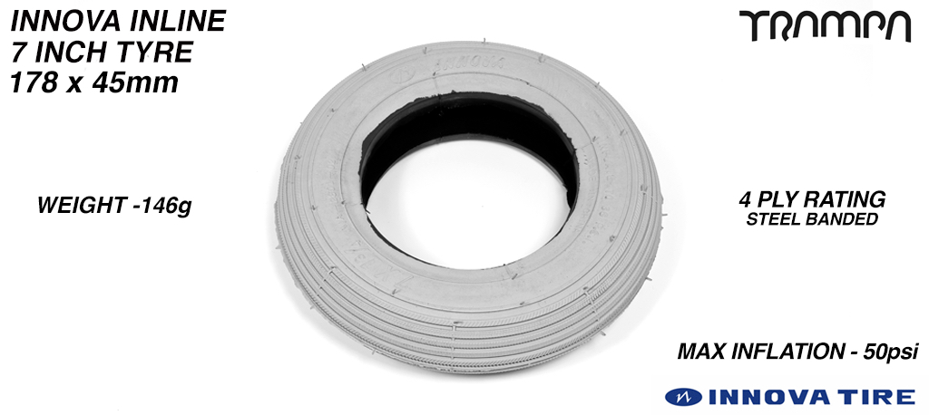 7 Inch GREY Innova INLINE Tyre & Tube