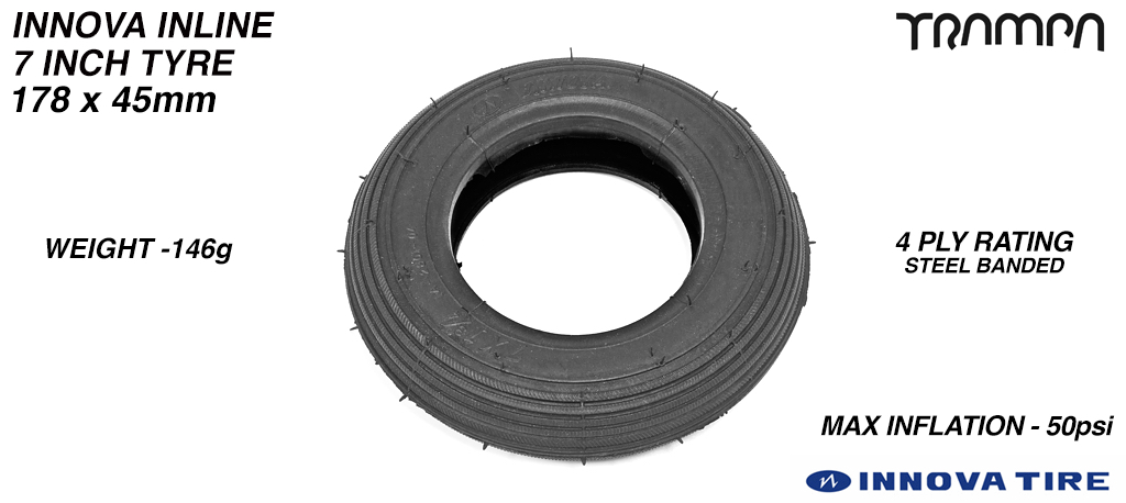 7 Inch INLINE Tyre - BLACK