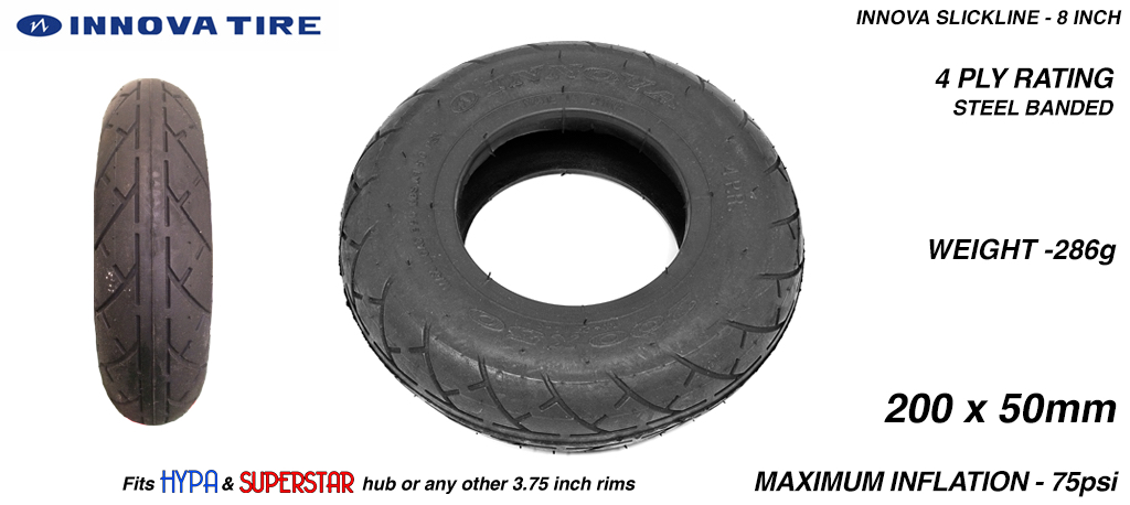 8 Inch BLACK Innova SLICK-CUT Tyres - All Round