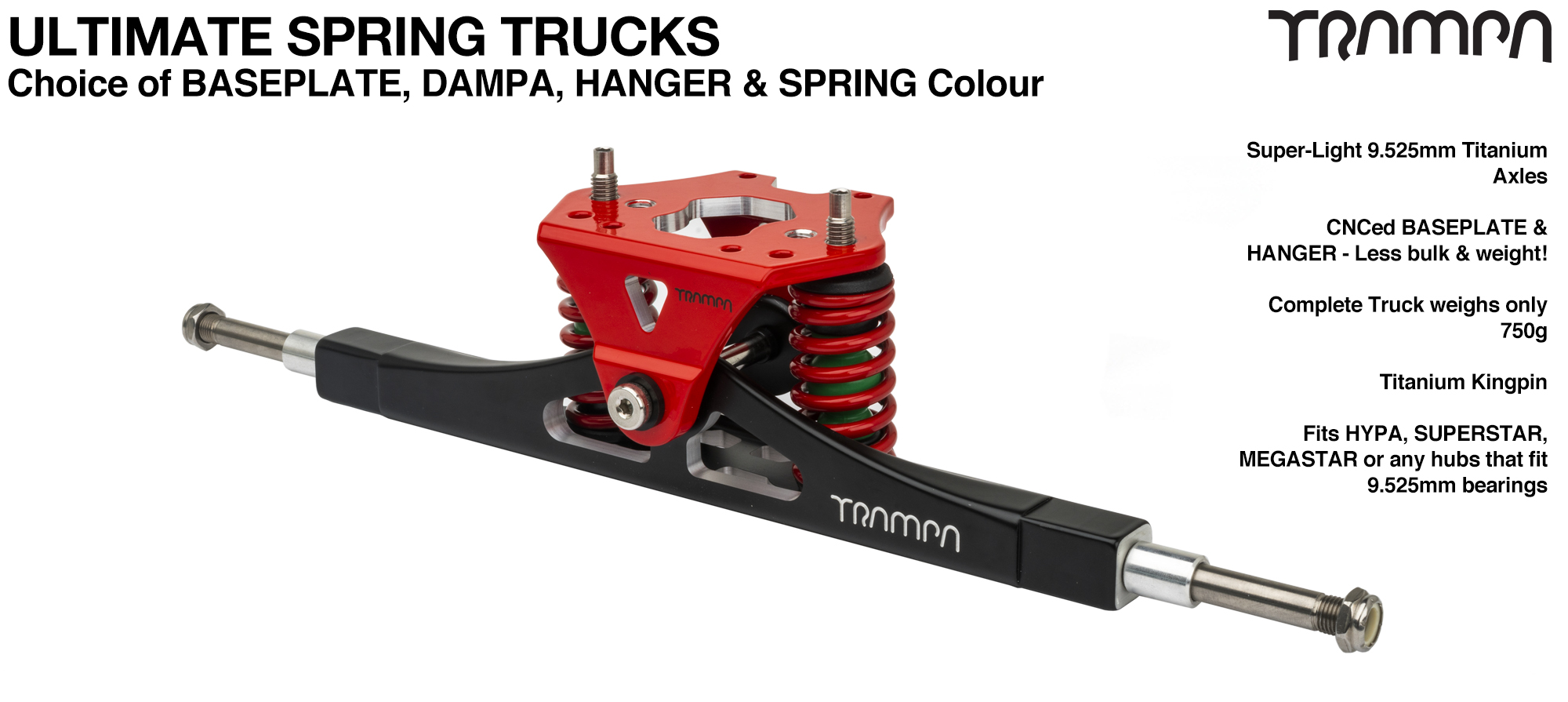 Precision CNC ULTIMATE ATB TRUCK with CNC Motor Mount fixing points, RED Baseplate, TITANIUM Axles & Kingpin
