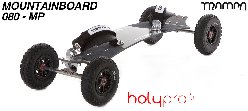 15º Holy Pro TRAMPA Deck on 10mm HOLLOW axle Trucks with HYPA Hubs on MUD-PLUGGER Tyres - 080 MOUNTAINBOARD