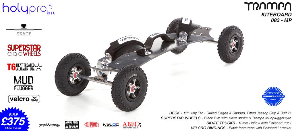 15° Holy Pro TRAMPA Deck on 10mm Hollow axle Skate trucks SUPERSTAR Hubs on Custom Tyres - 083 KITEBOARD