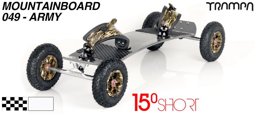 15º Short TRAMPA Deck on 10mm Hollow axle Skate Trucks HYPA wheels & RATCHET Bindings - 049 ARMY MOUNTAINBOARD