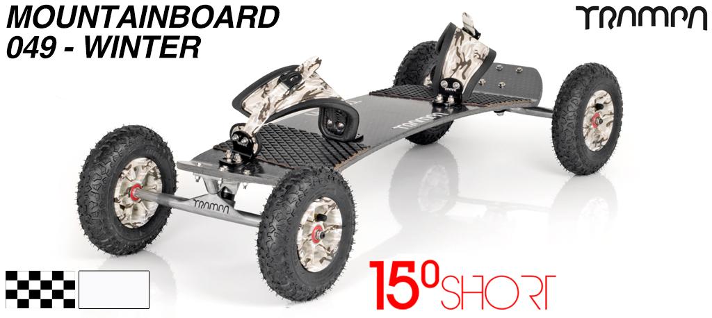 15º Short TRAMPA Deck on 10mm Hollow axle skate Trucks HYPA wheels & RATCHETT Bindings - 049 WINTER MOUNTAINBOARD