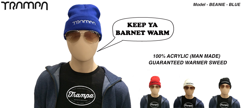 Wooli Hat Turn up - BLUE with WHITE TRAMPA Logo