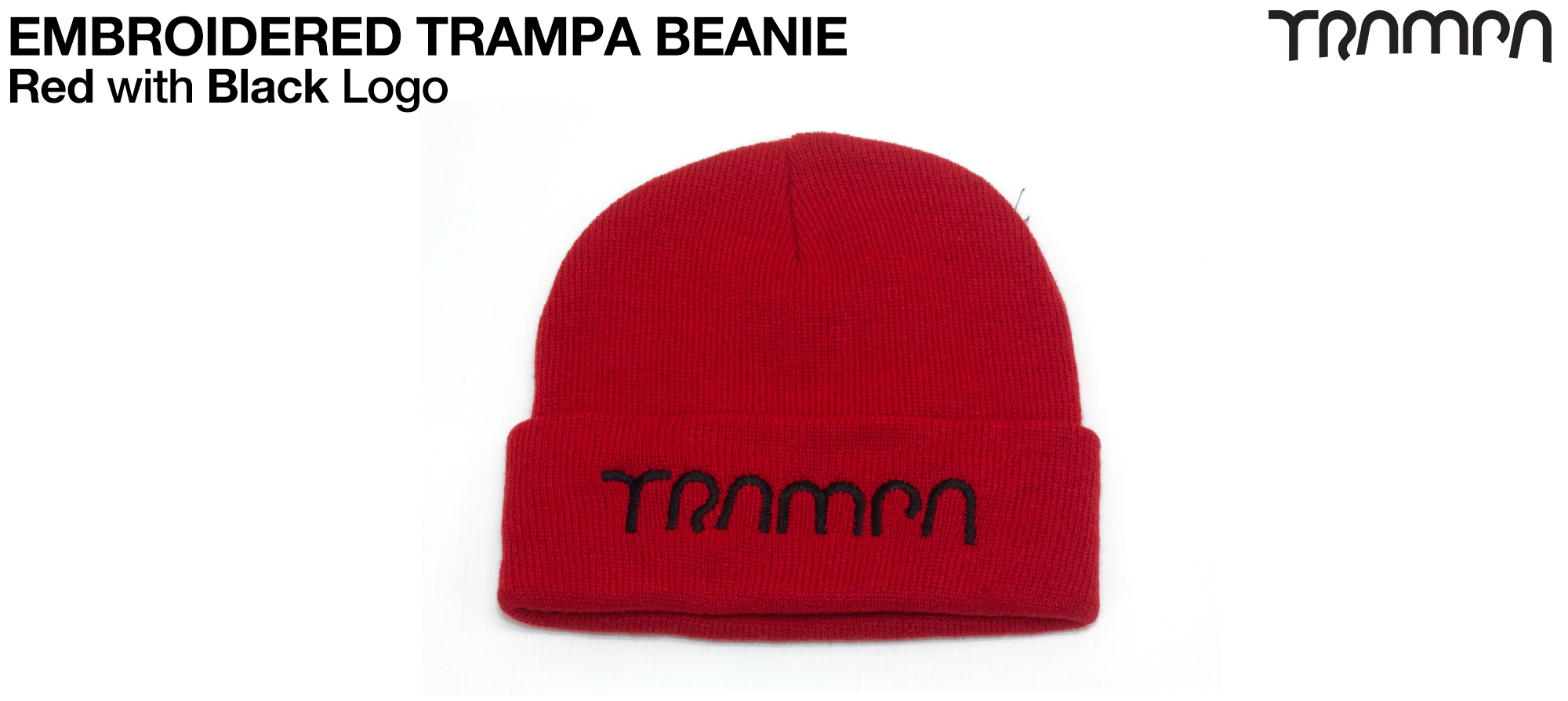 RED Wooli Hat with BLACK TRAMPA Embroidery - Double thick turn over for extra warmth