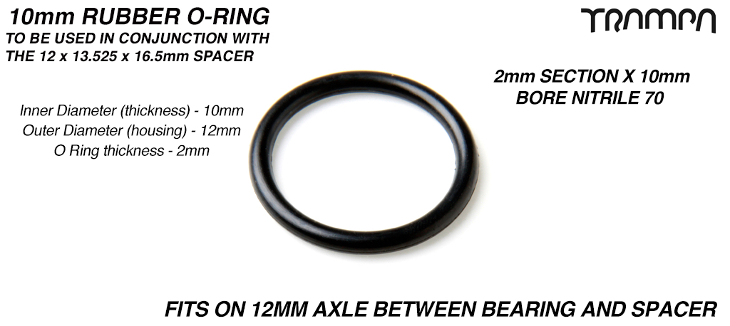 10mm Rubber O-Ring to fit in Bearings - 2mm Section x 10mm Bore NITRILE 70