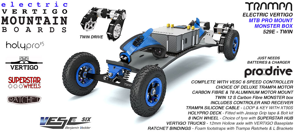 529e Electric Mountain Board on Vertigo Trucks Superstar Wheels & Ratchet Bindings - BLUE