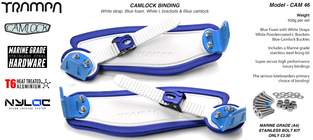 Camlock Bindings - White straps on Blue Foam with Blue L Brackets & Blue Camlocks
