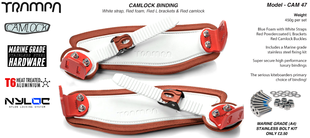 Camlock Bindings - White straps on Red Foam with Red L Brackets & Red Camlocks