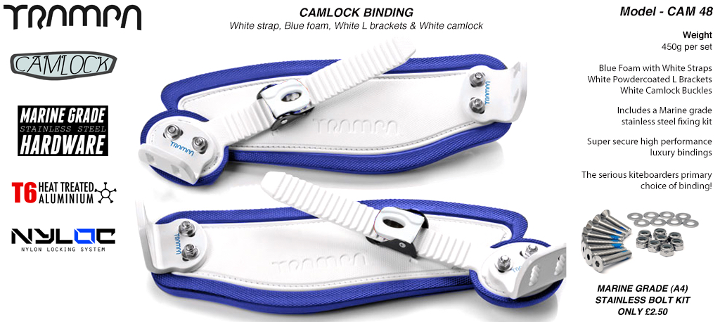 Camlock Bindings - White straps on Blue Foam with Blue L Brackets & White Camlocks