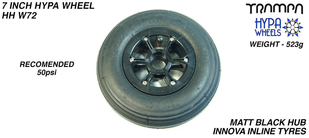 8 Inch Wheel - Matt Black Hypa Hub with Black Inline 8 Inch Tyre