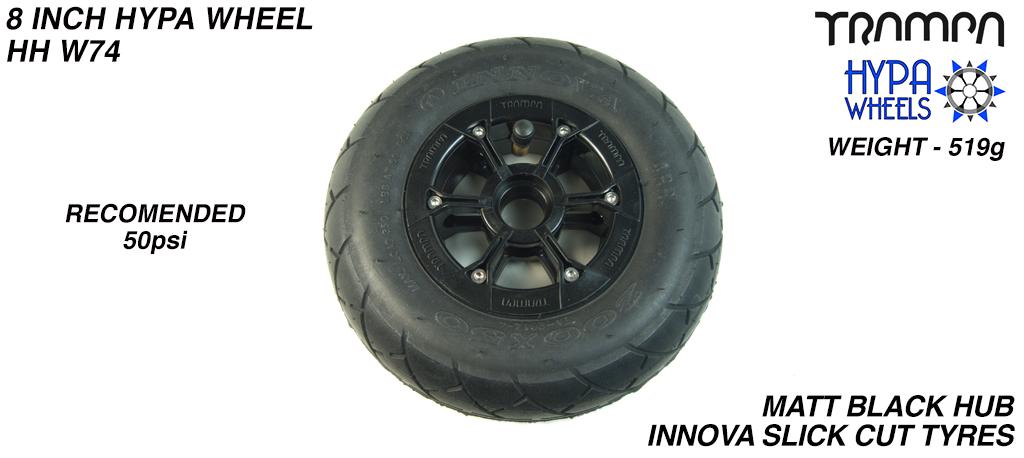 8 Inch Wheel - Matt Black Hypa Hub with Black KK Slickcut 8 Inch Tyre