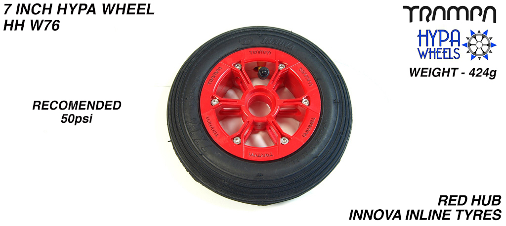 7 Inch Wheel - Red with Black Logo Hypa Hub with Black Inline 7 Inch Tyre
