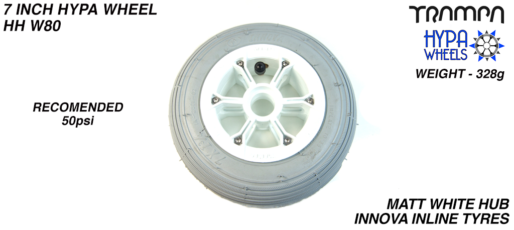 7 Inch Wheel - Matt White Hypa Hub with Grey Inline 7 Inch Tyre