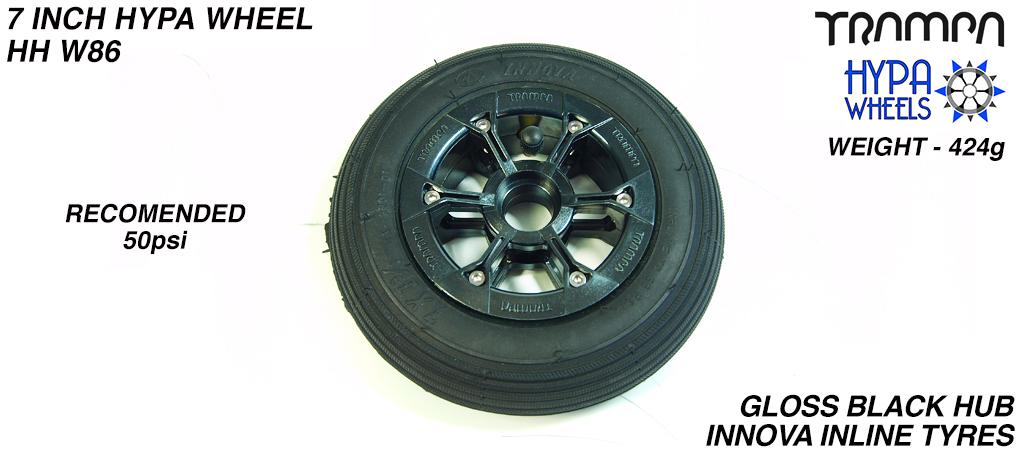 7 Inch Wheel - Gloss Black Hypa Hub with Black Inline 7 Inch Tyre