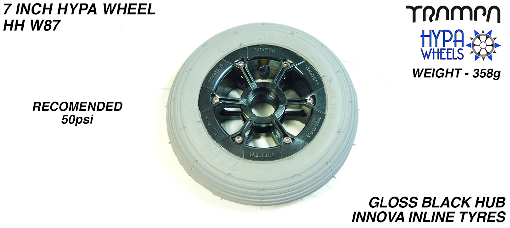 7 Inch Wheel - Gloss Black Hypa Hub with Grey Inline 7 Inch Tyre