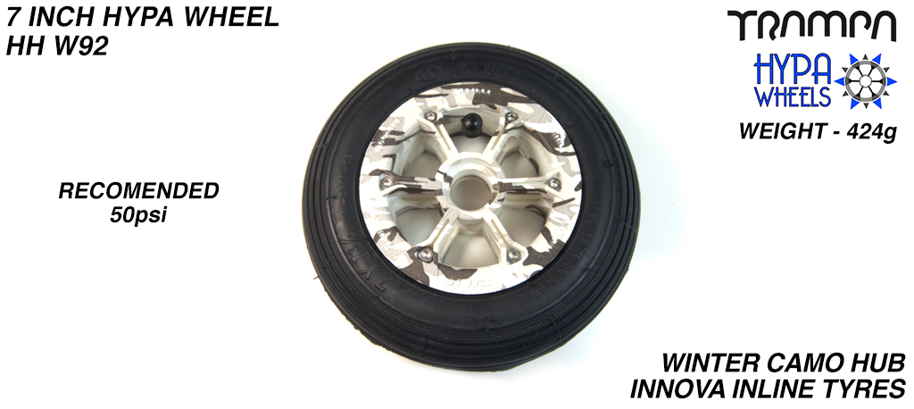 7 Inch Wheel - Winter Camo Hypa Hub with Black Inline 7 Inch Tyre