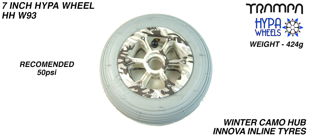 7 Inch Wheel - Winter Camo Hypa Hub with Grey Inline 7 Inch Tyre