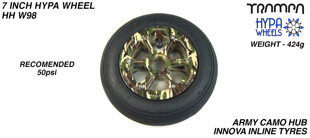 7 Inch Wheel - Army Camo Hypa Hub with Black Inline 7 Inch Tyre