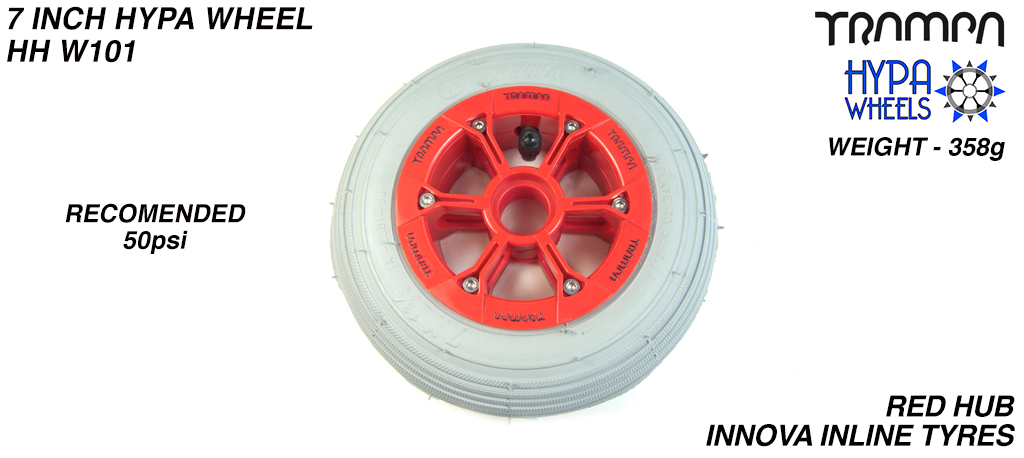 7 Inch Wheel - Red with Black Logo Hypa Hub with Grey Inline 7 Inch Tyre