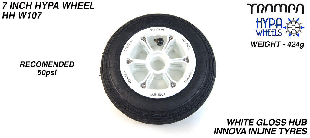 7 Inch Wheel - White Gloss with Black Logo Hypa hub & Black Inline 7 inch Tyre