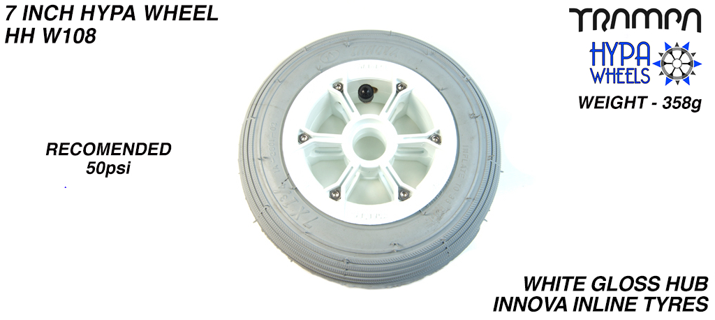 7 Inch Wheel - White Gloss with Black Logo Hypa hub & Grey Inline 7 inch Tyre