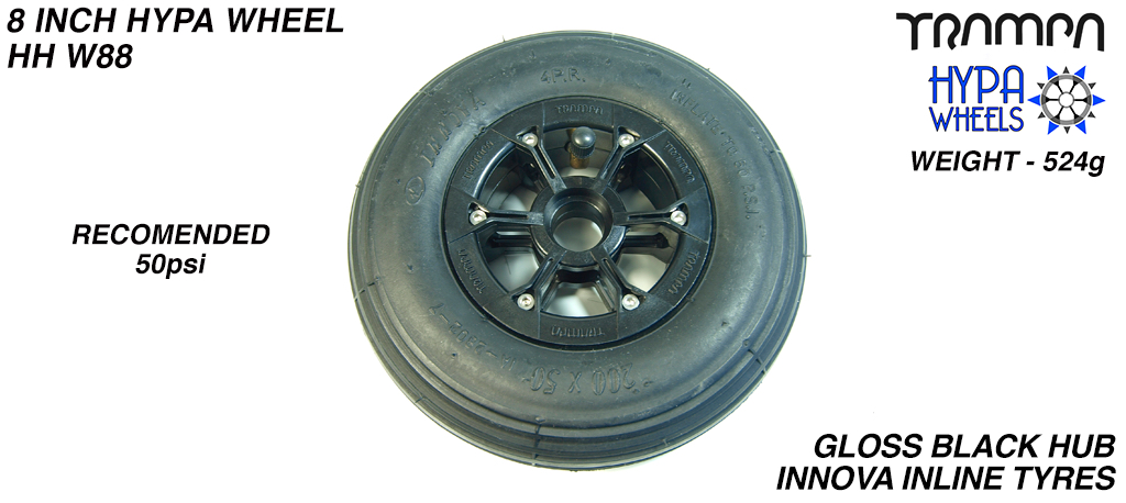 8 Inch Wheel - Gloss Black Hypa Hub with Black INNOVA Inline 8 Inch Tyre