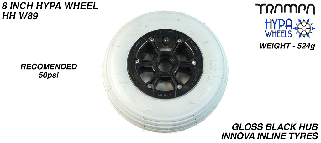 8 Inch Wheel - Gloss Black Hypa Hub with Grey INNOVA Inline 8 Inch Tyre