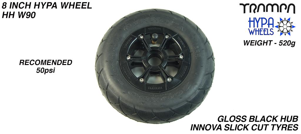 8 Inch Wheel - Gloss Black Hypa Hub with Black INNOVA KK Slickcut 8 Inch Tyre